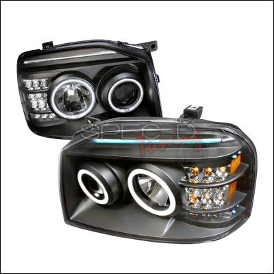 Spec-D - Nissan Frontier Spec-D CCFL Halo Projector Headlights - Black - 4LHP-FRO01JM-KS