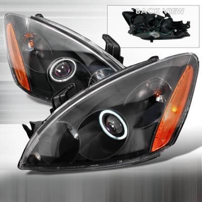 Spec-D - Mitsubishi Lancer Spec-D CCFL Halo Projector Headlights - Black - 4LHP-LAN03HJM-KS