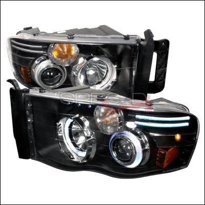 Spec-D - Dodge Ram Spec-D CCFL Halo Projector Headlights - Black - 4LHP-RAM02JM-KS