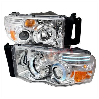 Spec-D - Dodge Ram Spec-D CCFL Halo Projector Headlights - Chrome - 4LHP-RAM02-KS