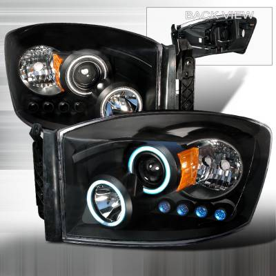 Spec-D - Dodge Ram Spec-D CCFL Halo Projector Headlights - Black - 4LHP-RAM06JM-KS