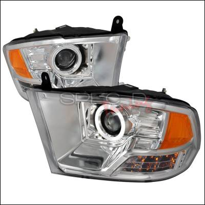 Spec-D - Dodge Ram Spec-D CCFL Halo Projector Headlights - Chrome - 4LHP-RAM09-KS