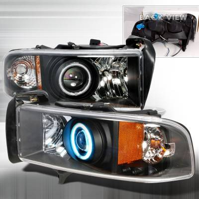 Spec-D - Dodge Ram Spec-D CCFL Halo Projector Headlights - Black - 4LHP-RAM94JM-KS