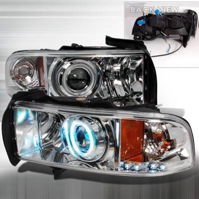 Spec-D - Dodge Ram Spec-D CCFL Halo Projector Headlights - Chrome - 4LHP-RAM94-KS