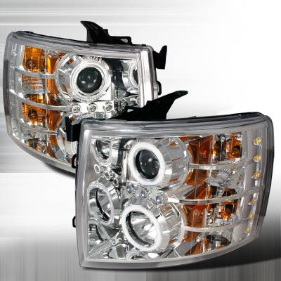 Spec-D - Chevrolet Silverado Spec-D CCFL Halo Projector Headlights - Chrome - 4LHP-SIV07-KS