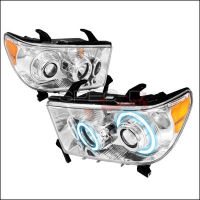 Spec-D - Toyota Tundra Spec-D CCFL Halo Projector Headlights - Chrome - 4LHP-TUN07-KS