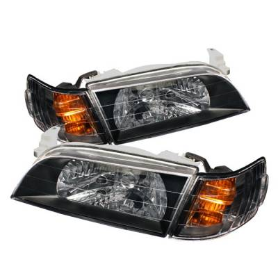 Spyder Auto - Toyota Corolla Spyder Crystal Headlights with Amber Corner Lights - Black - HD-CH-TC93-AM-BK-SET