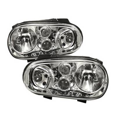 Spyder Auto - Volkswagen Golf Spyder Crystal Headlights - Chrome - HD-CH-VGOLF99-C