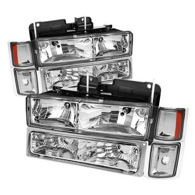 Spyder - Chevrolet CK Truck Spyder Crystal Headlights with Corner & Bumper - HD-JH-CCK88-AM-C-SET