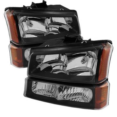 Spyder - Chevrolet Silverado Spyder Crystal Headlights with Bumper Lights - Black - HD-JH-CSIL03-AM-BK-SET