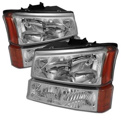 Spyder - Chevrolet Silverado Spyder Crystal Headlights with Bumper Lights - Chrome - HD-JH-CSIL03-AM-C-SET