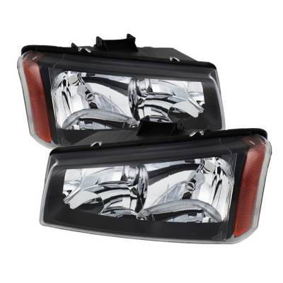Spyder - Chevrolet Silverado Spyder Crystal Headlights - Black - HD-JH-CSIL03-BK-AM
