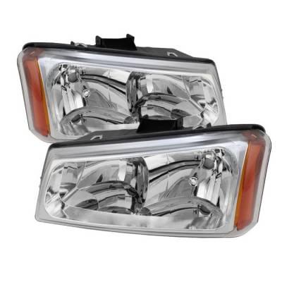 Spyder - Chevrolet Silverado Spyder Crystal Headlights - Chrome - HD-JH-CSIL03-C-AM