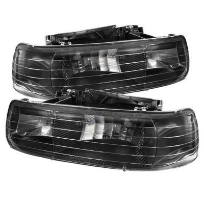 Spyder - Chevrolet Tahoe Spyder Amber Crystal Headlights - Black - HD-JH-CSIL99-BK
