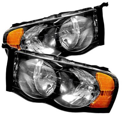 Spyder - Dodge Ram Spyder Amber Crystal Headlights - Black - HD-JH-DR02-AM-BK