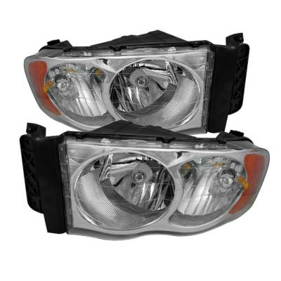 Spyder - Dodge Ram Spyder Amber Crystal Headlights - Chrome - HD-JH-DR02-AM-C