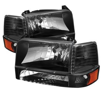 Spyder - Ford F150 Spyder Headlights with Corner Bumper Amber - Black - 6PC - HD-JH-FB92-SET-AM-BK