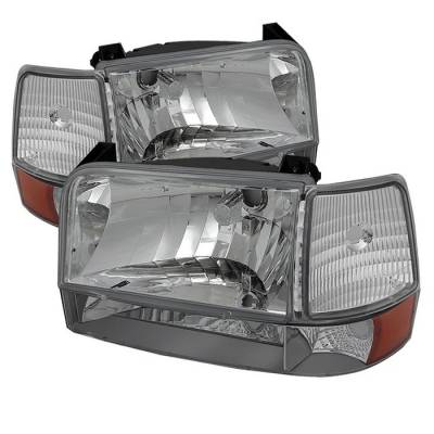 Spyder - Ford F150 Spyder Headlights with Corner Bumper Amber - Chrome - 6PC - HD-JH-FB92-SET-AM-C
