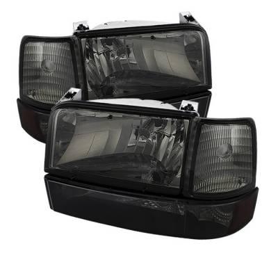Spyder - Ford F150 Spyder Headlights with Corner Bumper Amber - Smoke - 6PC - HD-JH-FB92-SET-AM-SM