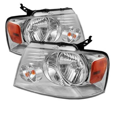 Spyder - Ford F150 Spyder Amber Crystal Headlights - Chrome - HD-JH-FF15004-AM-C