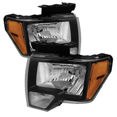 Spyder - Ford F150 Spyder Amber Crystal Headlights - Black - HD-JH-FF15009-AM-BK