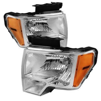 Spyder - Ford F150 Spyder Amber Crystal Headlights - Chrome - HD-JH-FF15009-AM-C