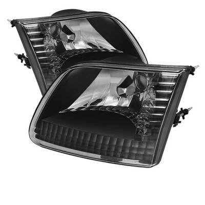 Spyder - Ford F150 Spyder Crystal Headlights - Black - HD-JH-FF15097-BK