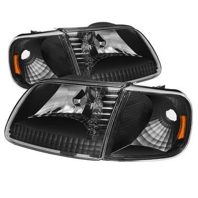 Spyder - Ford F150 Spyder Crystal Headlights with Corner - Chrome - HD-JH-FF15097-SET-AM-BK