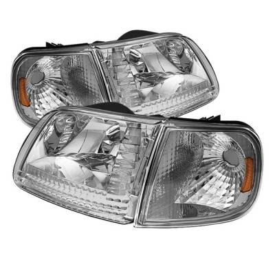 Spyder - Ford F150 Spyder Crystal Headlights with Corner - Chrome - HD-JH-FF15097-SET-AM-C