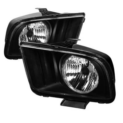 Spyder - Ford Mustang Spyder LED Crystal Headlights - Black - HD-JH-FM05-LED-BK