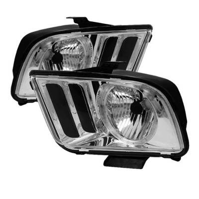 Spyder - Ford Mustang Spyder LED Crystal Headlights - Chrome - HD-JH-FM05-LED-C