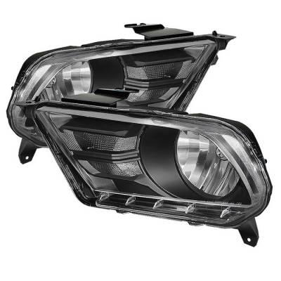 Spyder - Ford Mustang Spyder Crystal Headlights - Black - HD-JH-FM2010-BK