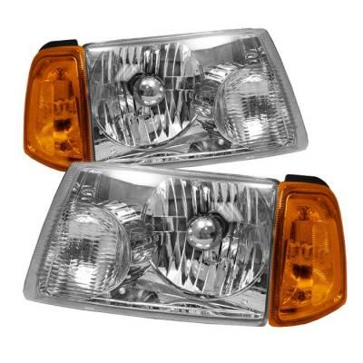 Spyder - Ford Ranger Spyder Amber Crystal Headlights with Corner Lights - Chrome - HD-JH-FR01-AM-C-SET