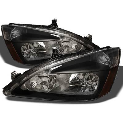 Spyder - Honda Accord Spyder Amber Crystal Headlights - Black - HD-JH-HA03-AM-BK