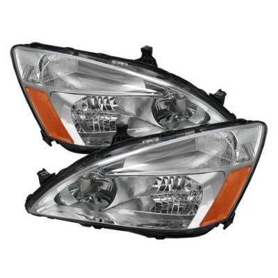 Spyder - Honda Accord Spyder Amber Crystal Headlights - Chrome - HD-JH-HA03-AM-C