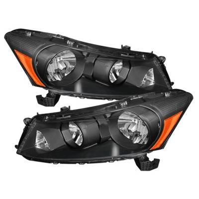 Spyder - Honda Accord 4DR Spyder Amber Crystal Headlights - Black - HD-JH-HA08-AM-BK