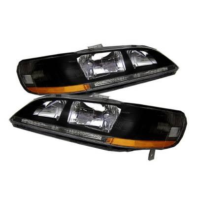 Spyder - Honda Accord Spyder Amber Crystal Headlights - Black - HD-JH-HA98-AM-BK