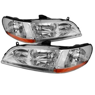 Spyder - Honda Accord Spyder Amber Crystal Headlights - Chrome - HD-JH-HA98-AM-C