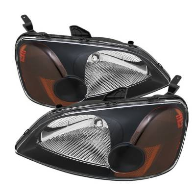 Spyder - Honda Civic 2DR & 4DR Spyder Amber Crystal Headlights - Black - HD-JH-HC01-AM-BK