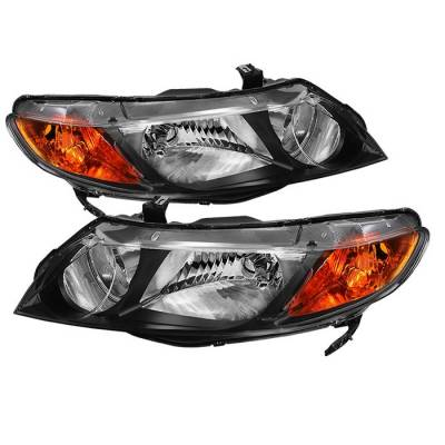 Spyder - Honda Civic 4DR Spyder Crystal Headlights Amber - Black - HD-JH-HC06-4DR-AM-BK