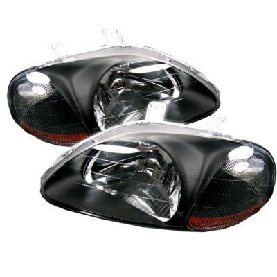 Spyder - Honda Civic Spyder Amber Crystal Headlights - Black - HD-JH-HC96-AM-BK