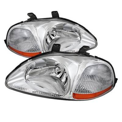 Spyder - Honda Civic Spyder Amber Crystal Headlights - Chrome - HD-JH-HC96-AM-C
