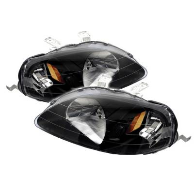 Spyder - Honda Civic Spyder Amber Crystal Headlights - Black - HD-JH-HC99-AM-BK
