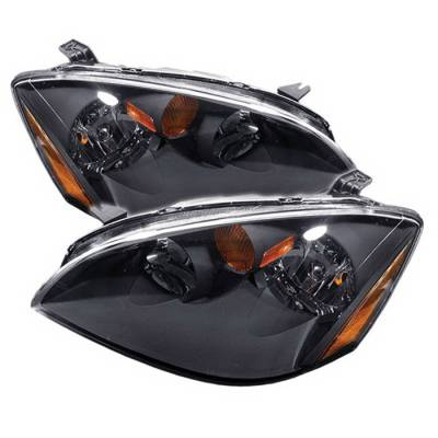 Spyder Auto - Nissan Altima Spyder Amber Crystal Headlights - Black - HD-JH-NA02-AM-BK
