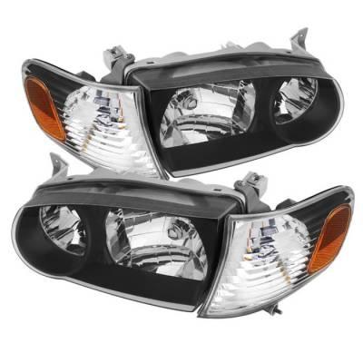 Spyder - Toyota Corolla Spyder Crystal Headlights with Amber Corner Lights - Black - HD-JH-TC01-AM-BK
