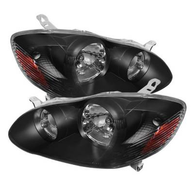 Spyder - Toyota Corolla Spyder Crystal Headlights - Black - HD-JH-TC03-AM-BK