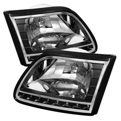 Spyder Auto - Ford F150 Spyder Crystal Headlights - Black - HD-ON-FF15097-LED-BK