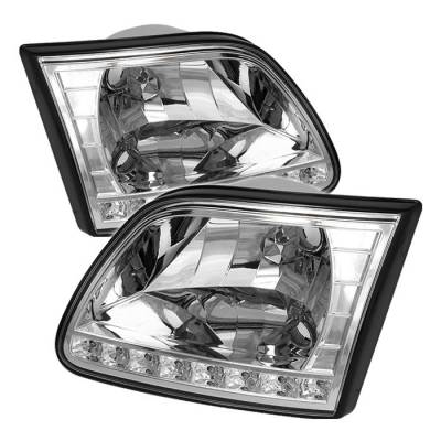 Spyder - Ford F150 Spyder Crystal Headlights - Chrome - HD-ON-FF15097-LED-C