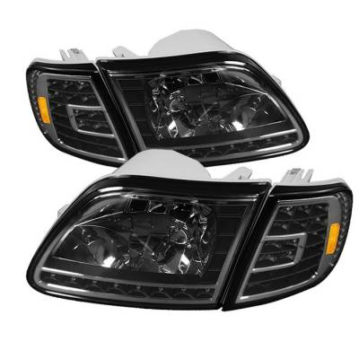 Spyder - Ford F150 Spyder Crystal Headlights with Clear LED Corners - Black - HD-ON-FF15097-LED-SET-BK