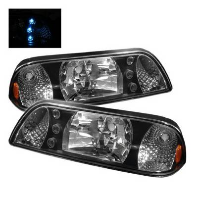 Spyder Auto - Ford Mustang Spyder LED Crystal Headlights - Black - HD-ON-FM87-1P-LED-BK